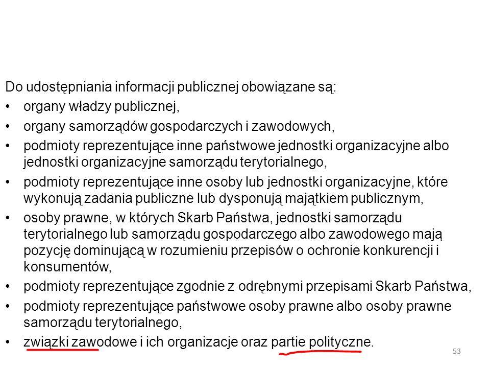 Do udostępniania informacji publicznej obowiązane są: