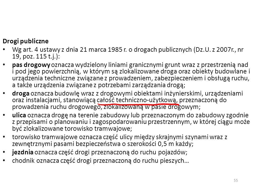 Drogi publiczneWg art. 4 ustawy z dnia 21 marca 1985 r. o drogach publicznych (Dz.U. z 2007r., nr 19, poz. 115 t.j.):