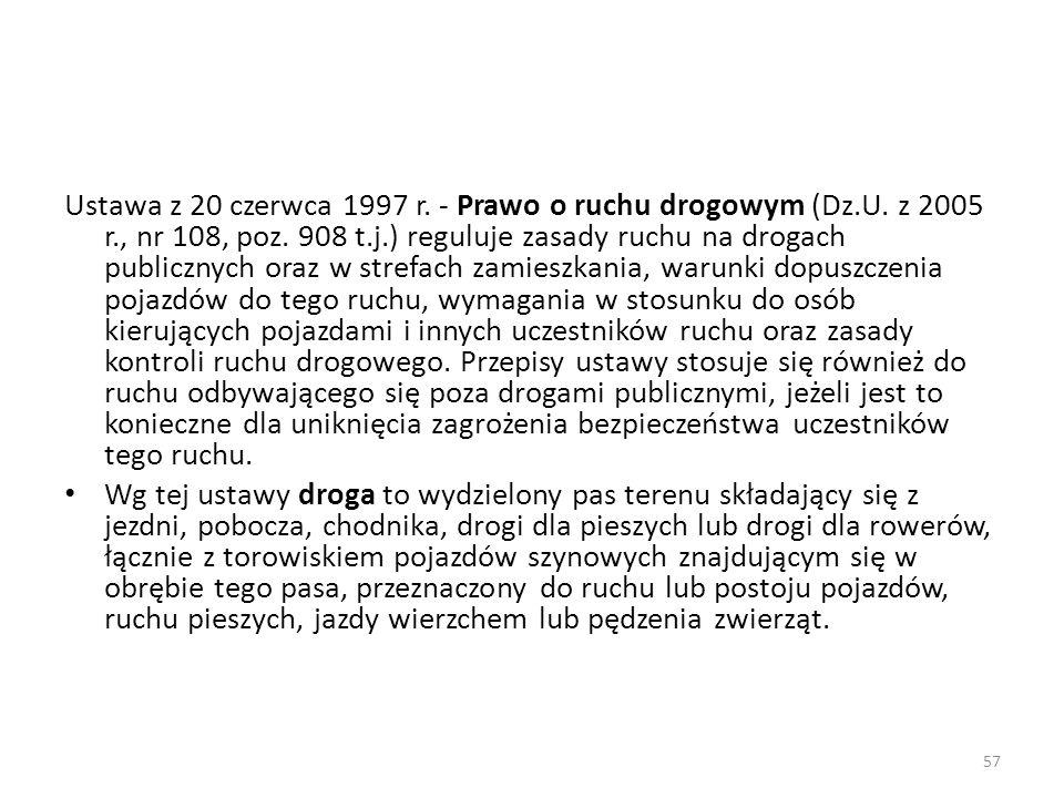Ustawa z 20 czerwca 1997 r. - Prawo o ruchu drogowym (Dz. U. z 2005 r