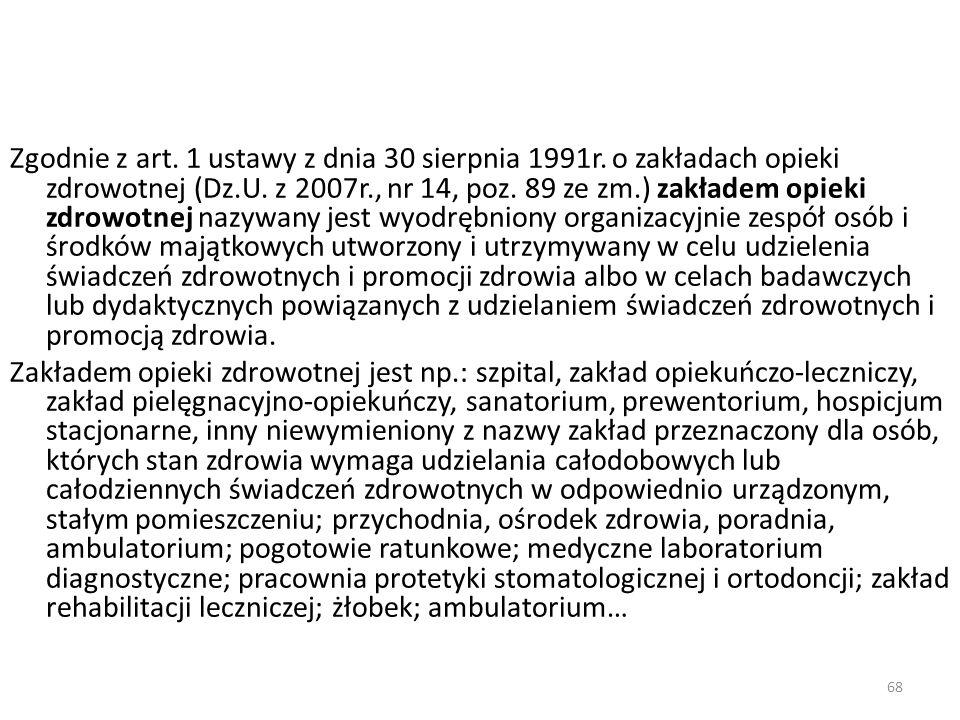 Zgodnie z art. 1 ustawy z dnia 30 sierpnia 1991r