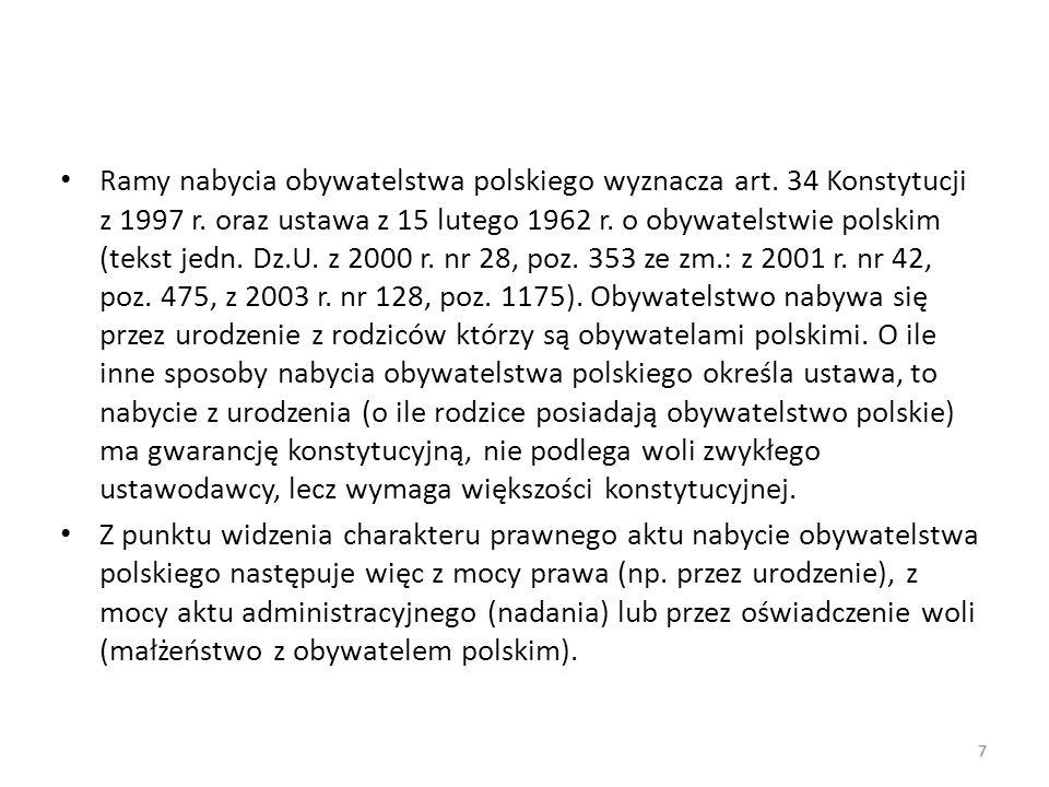 Ramy nabycia obywatelstwa polskiego wyznacza art