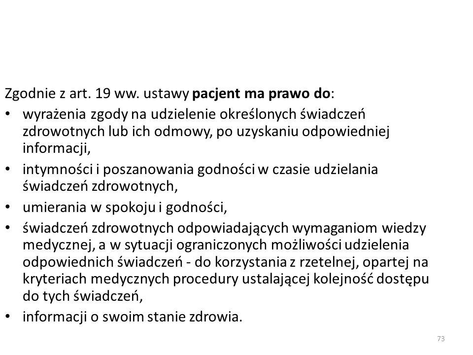 Zgodnie z art. 19 ww. ustawy pacjent ma prawo do: