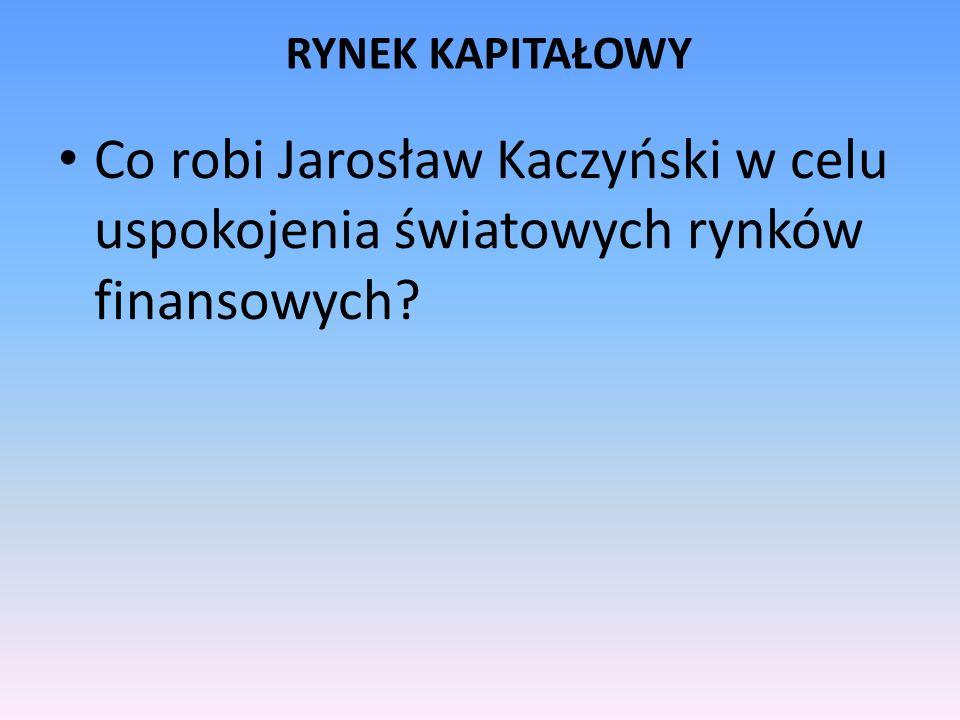 RYNEK KAPITAŁOWY Co robi Jarosław Kaczyński w celu uspokojenia światowych rynków finansowych
