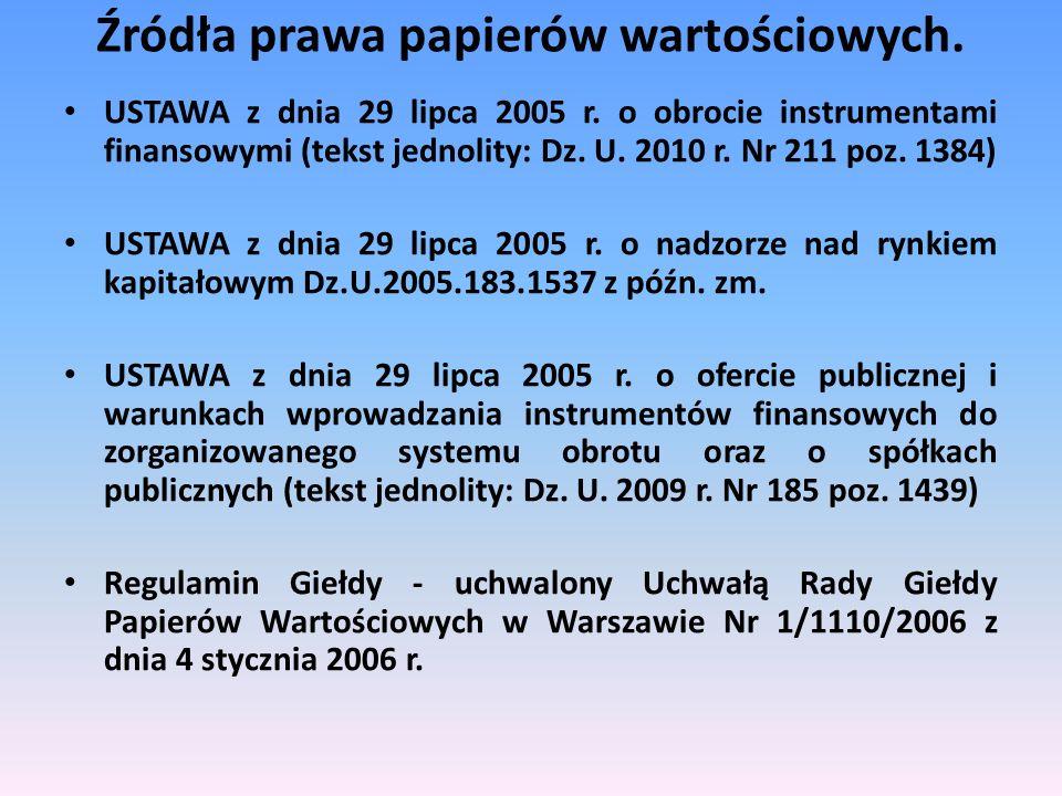 Źródła prawa papierów wartościowych.