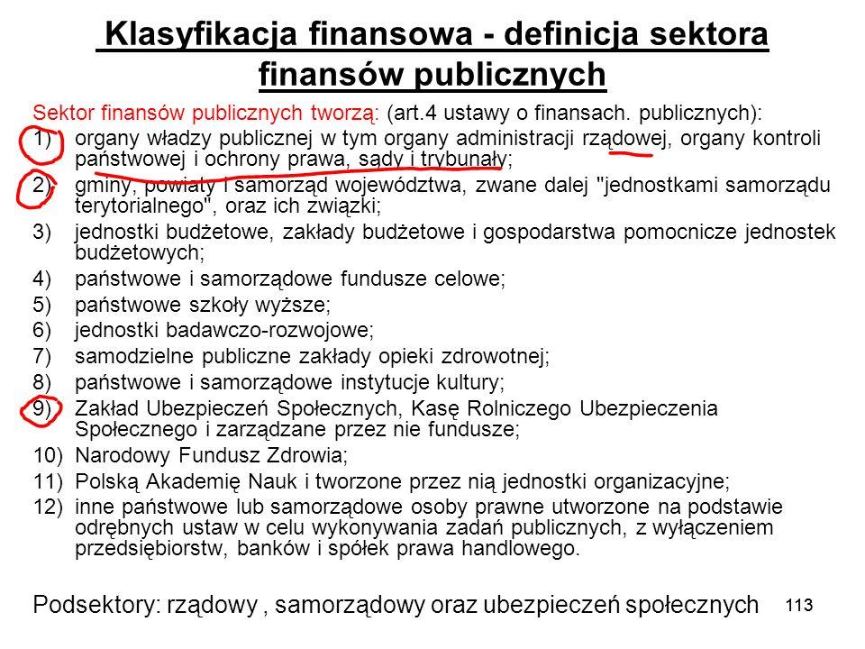 Klasyfikacja finansowa - definicja sektora finansów publicznych