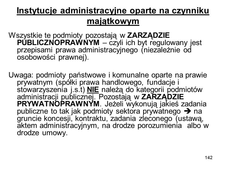 Instytucje administracyjne oparte na czynniku majątkowym