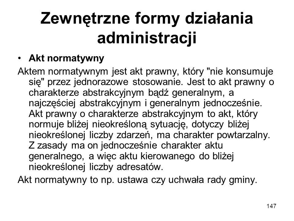 Zewnętrzne formy działania administracji