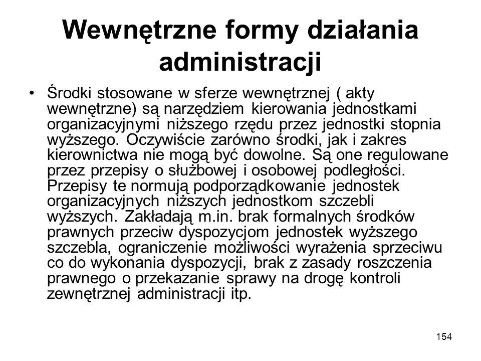 Wewnętrzne formy działania administracji