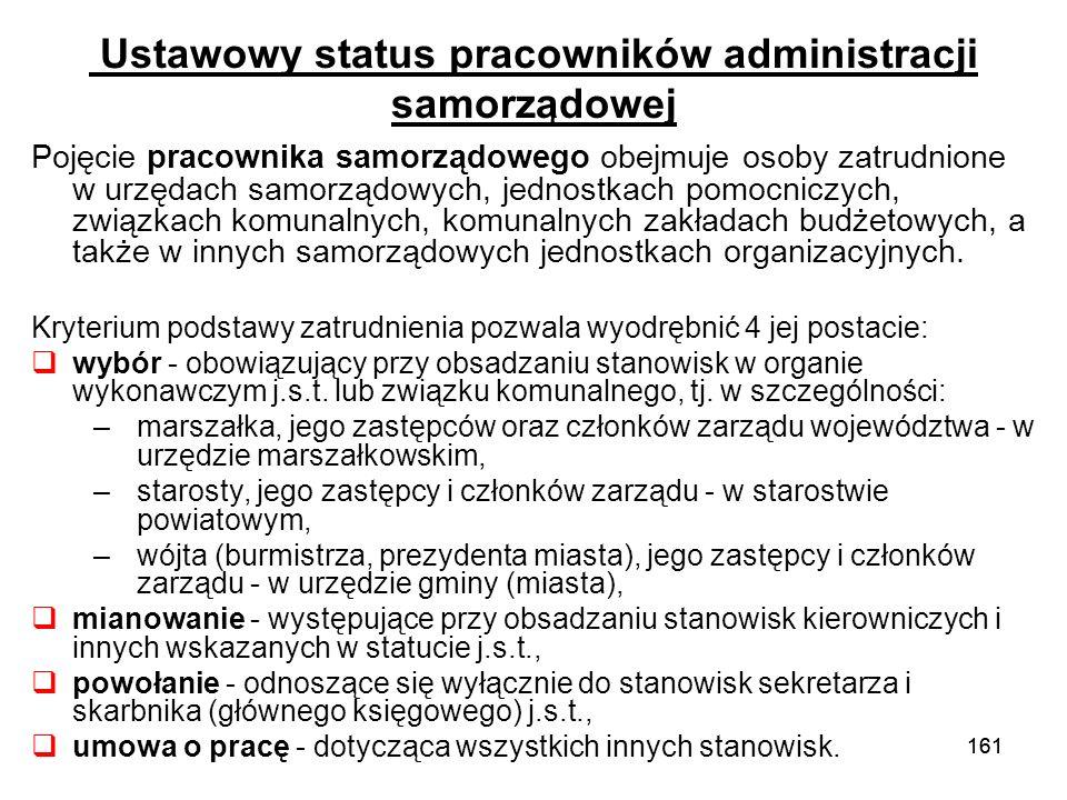Ustawowy status pracowników administracji samorządowej