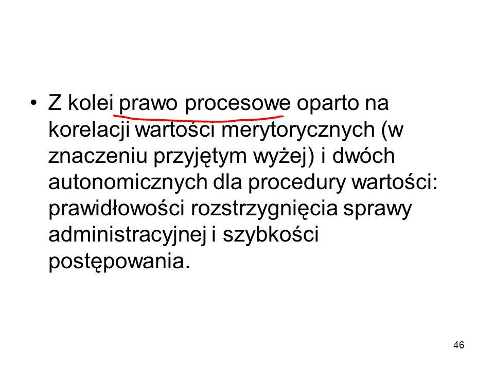 Z kolei prawo procesowe oparto na korelacji wartości merytorycznych (w znaczeniu przyjętym wyżej) i dwóch autonomicznych dla procedury wartości: prawidłowości rozstrzygnięcia sprawy administracyjnej i szybkości postępowania.