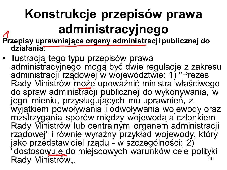 Konstrukcje przepisów prawa administracyjnego
