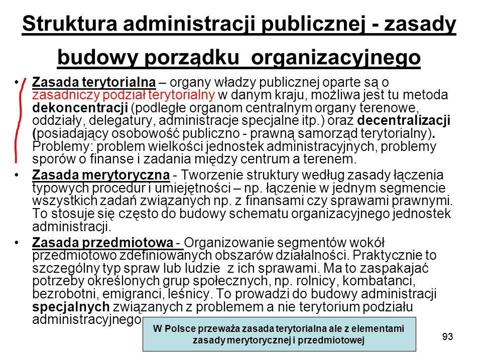 Struktura administracji publicznej - zasady budowy porządku organizacyjnego