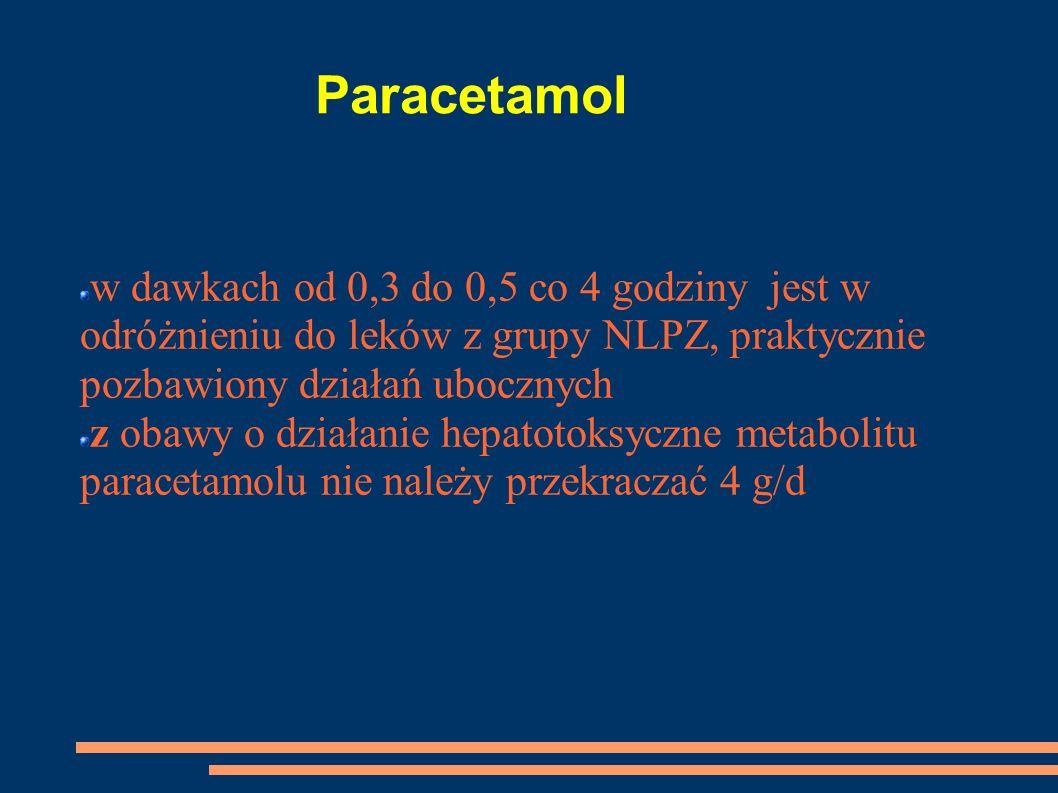 Paracetamolw dawkach od 0,3 do 0,5 co 4 godziny jest w odróżnieniu do leków z grupy NLPZ, praktycznie pozbawiony działań ubocznych.