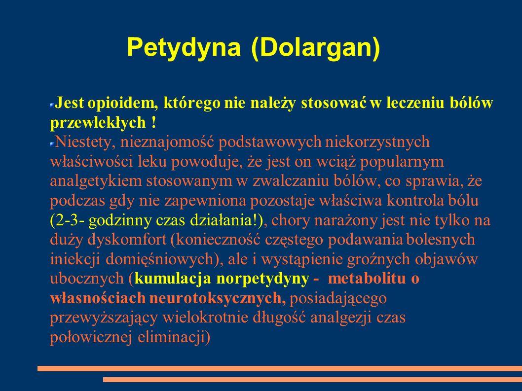 Petydyna (Dolargan)Jest opioidem, którego nie należy stosować w leczeniu bólów przewlekłych !