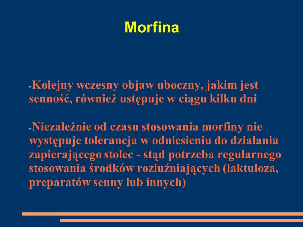 Morfina Kolejny wczesny objaw uboczny, jakim jest senność, również ustępuje w ciągu kilku dni.