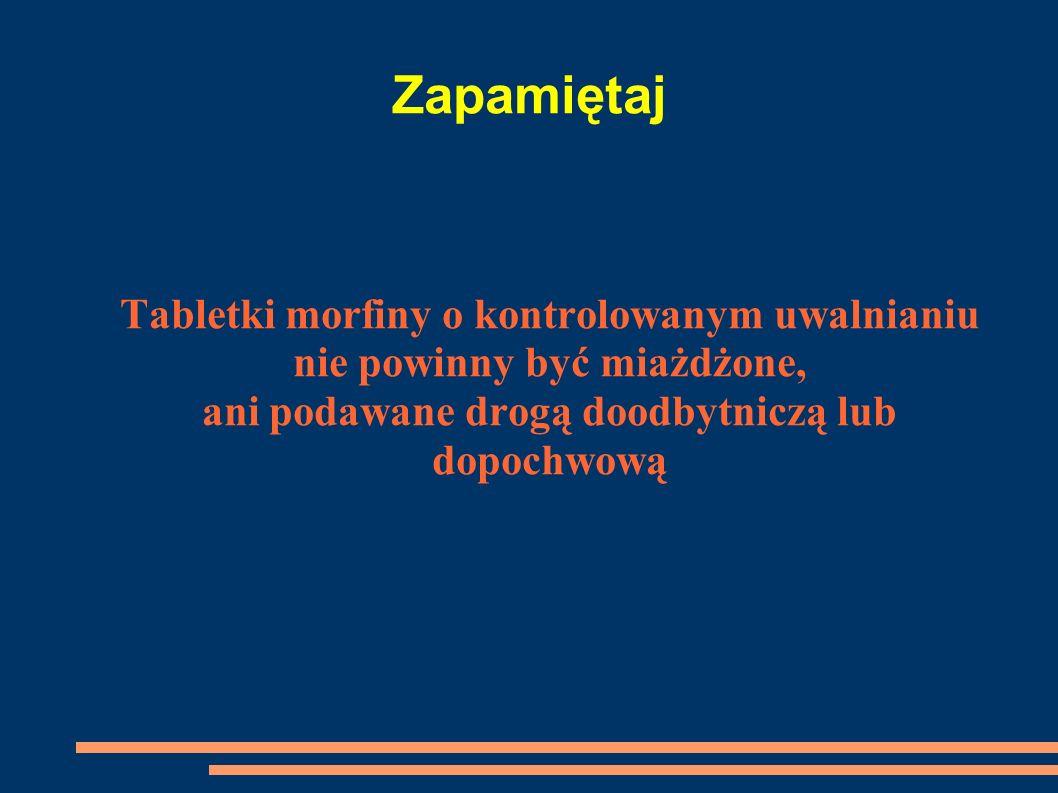 ZapamiętajTabletki morfiny o kontrolowanym uwalnianiu nie powinny być miażdżone, ani podawane drogą doodbytniczą lub dopochwową.