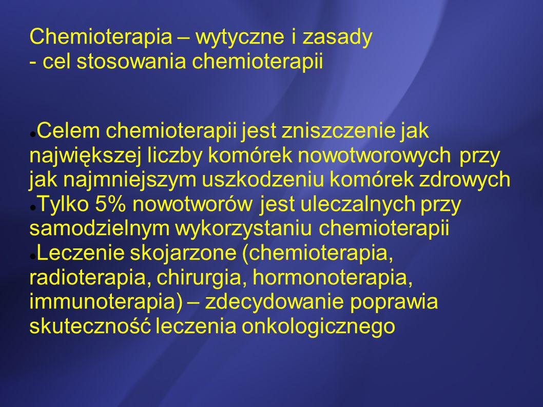 Chemioterapia – wytyczne i zasady - cel stosowania chemioterapii