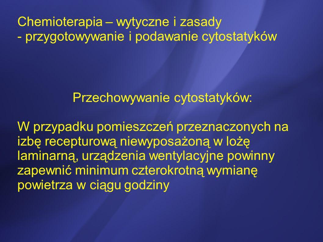 Przechowywanie cytostatyków: