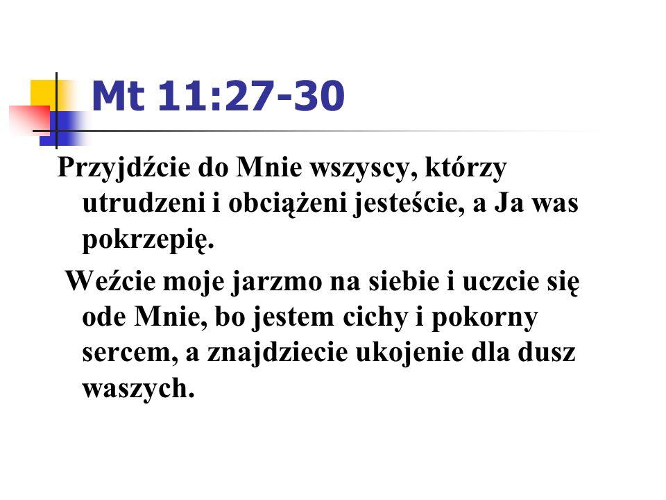 Mt 11:27-30 Przyjdźcie do Mnie wszyscy, którzy utrudzeni i obciążeni jesteście, a Ja was pokrzepię.
