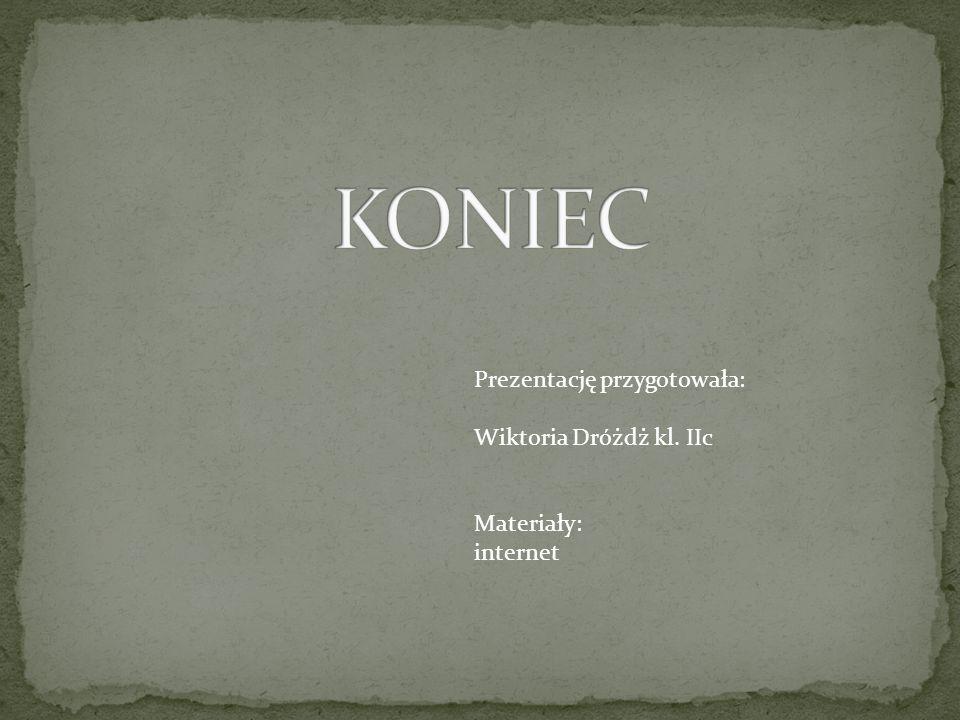 KONIEC Prezentację przygotowała: Wiktoria Dróżdż kl. IIc Materiały: