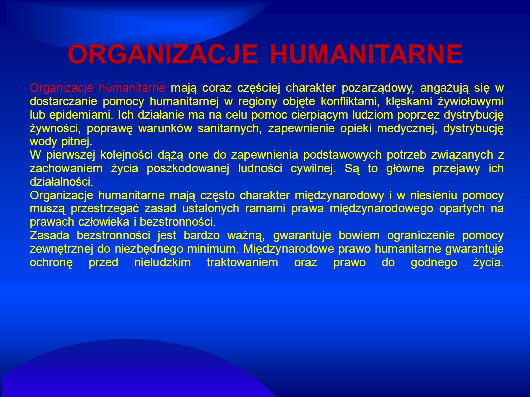 ORGANIZACJE HUMANITARNE