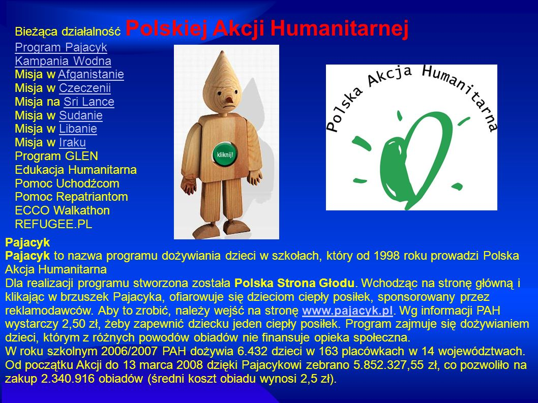 Bieżąca działalność Polskiej Akcji Humanitarnej
