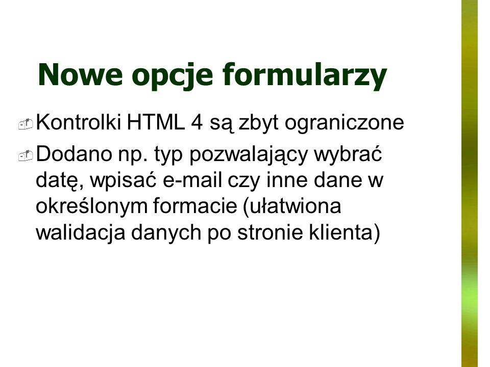 Nowe opcje formularzy Kontrolki HTML 4 są zbyt ograniczone