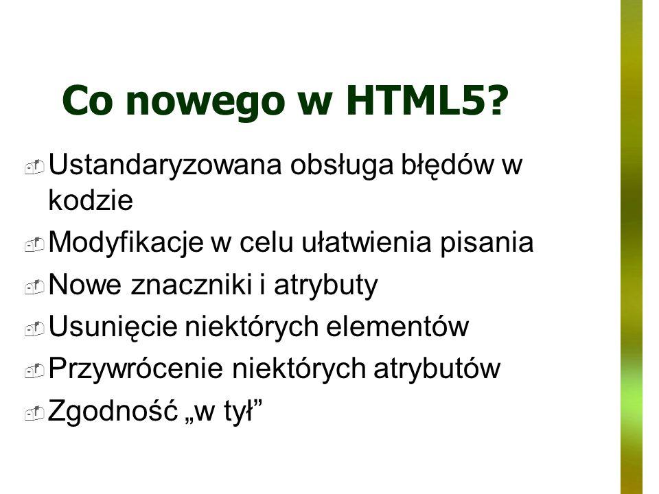 Co nowego w HTML5 Ustandaryzowana obsługa błędów w kodzie