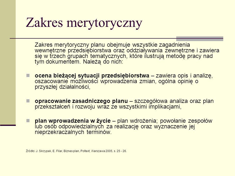 Zakres merytoryczny