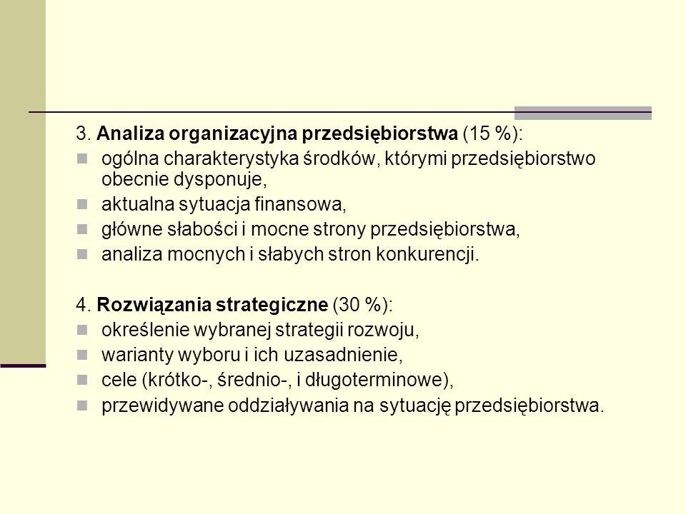 3. Analiza organizacyjna przedsiębiorstwa (15 %):