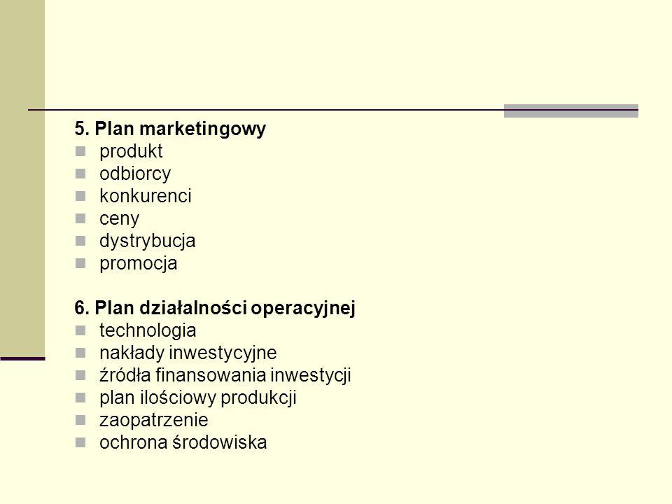 5. Plan marketingowyprodukt. odbiorcy. konkurenci. ceny. dystrybucja. promocja. 6. Plan działalności operacyjnej.