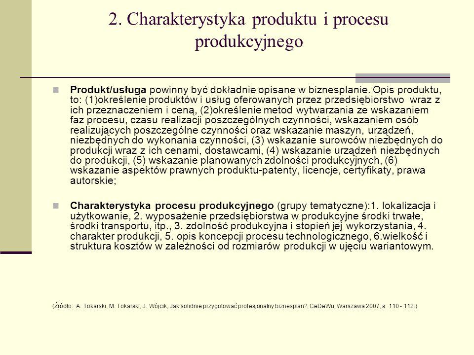 2. Charakterystyka produktu i procesu produkcyjnego