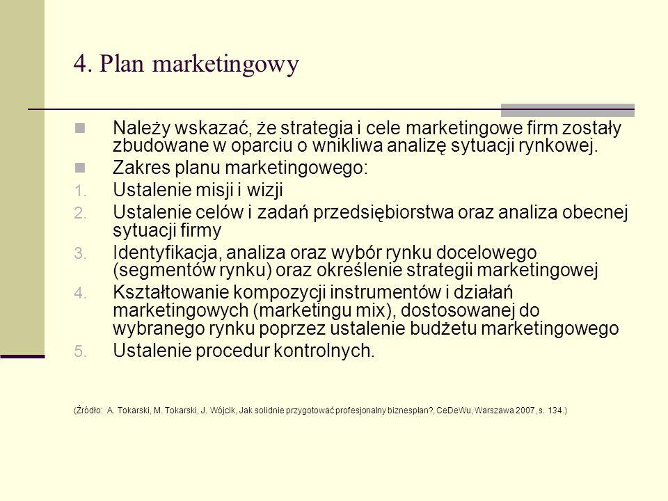 4. Plan marketingowyNależy wskazać, że strategia i cele marketingowe firm zostały zbudowane w oparciu o wnikliwa analizę sytuacji rynkowej.