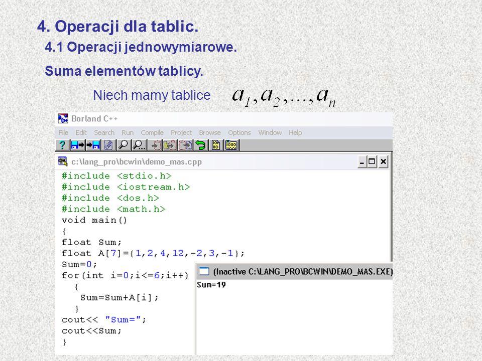 4. Operacji dla tablic. 4.1 Operacji jednowymiarowe.