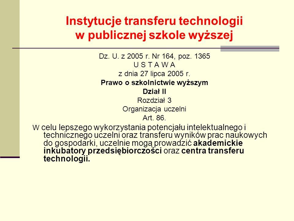 Instytucje transferu technologii w publicznej szkole wyższej