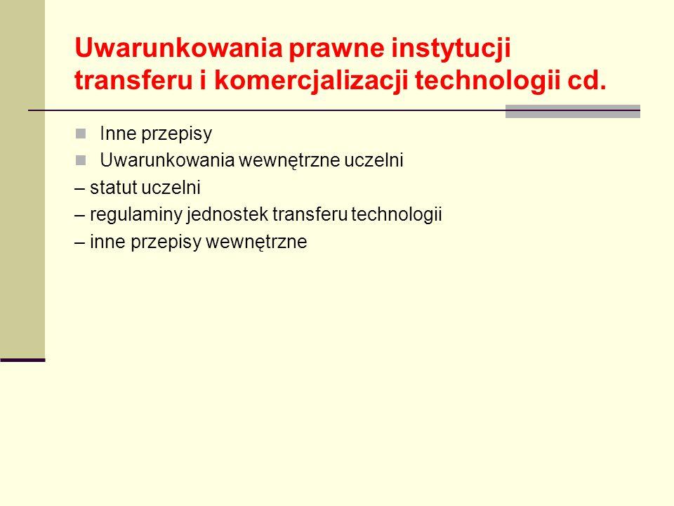 Uwarunkowania prawne instytucji transferu i komercjalizacji technologii cd.