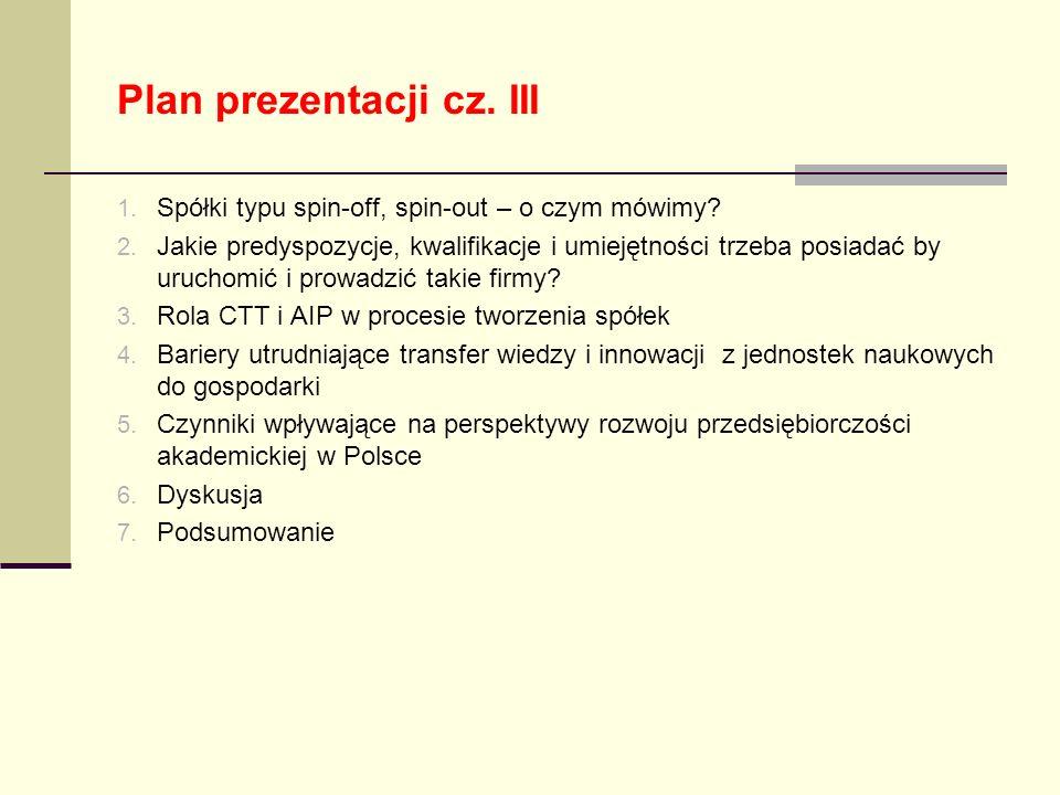 Plan prezentacji cz. III