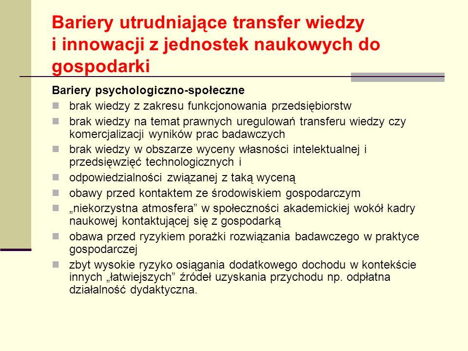 Bariery utrudniające transfer wiedzy i innowacji z jednostek naukowych do gospodarki