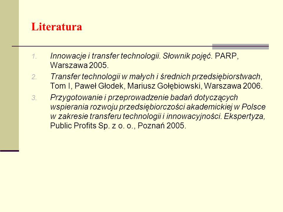 Literatura Innowacje i transfer technologii. Słownik pojęć. PARP, Warszawa 2005.