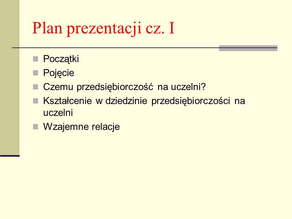 Plan prezentacji cz. I Początki Pojęcie