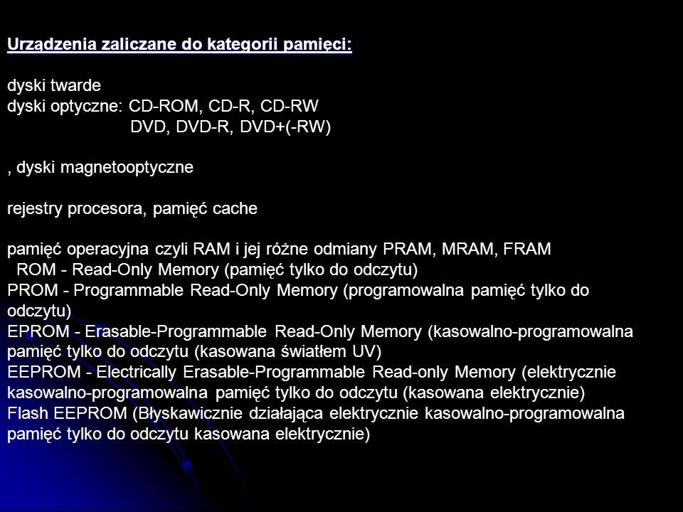 Urządzenia zaliczane do kategorii pamięci: