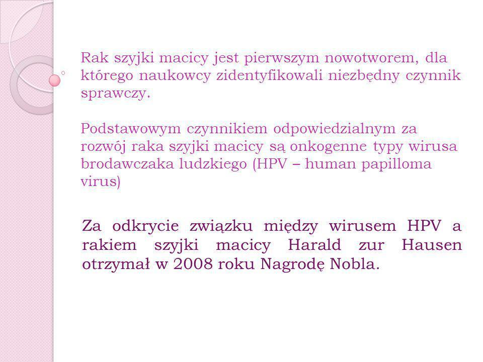 Rak szyjki macicy jest pierwszym nowotworem, dla którego naukowcy zidentyfikowali niezbędny czynnik sprawczy. Podstawowym czynnikiem odpowiedzialnym za rozwój raka szyjki macicy są onkogenne typy wirusa brodawczaka ludzkiego (HPV – human papilloma virus)