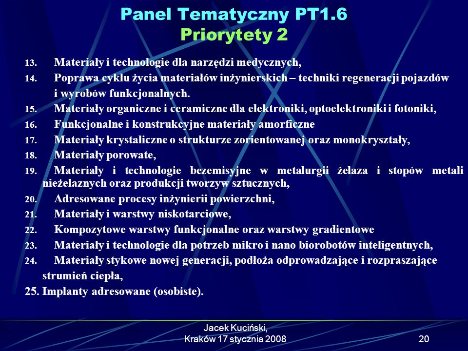 Panel Tematyczny PT1.6 Priorytety 2