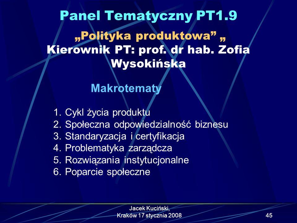 """Panel Tematyczny PT1.9 """"Polityka produktowa """" Kierownik PT: prof. dr hab. Zofia Wysokińska. Makrotematy."""