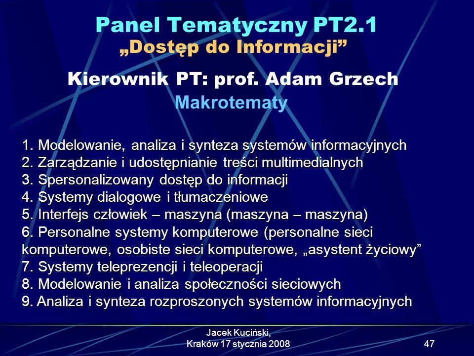 """Panel Tematyczny PT2.1 """"Dostęp do Informacji Kierownik PT: prof. Adam Grzech. Makrotematy."""