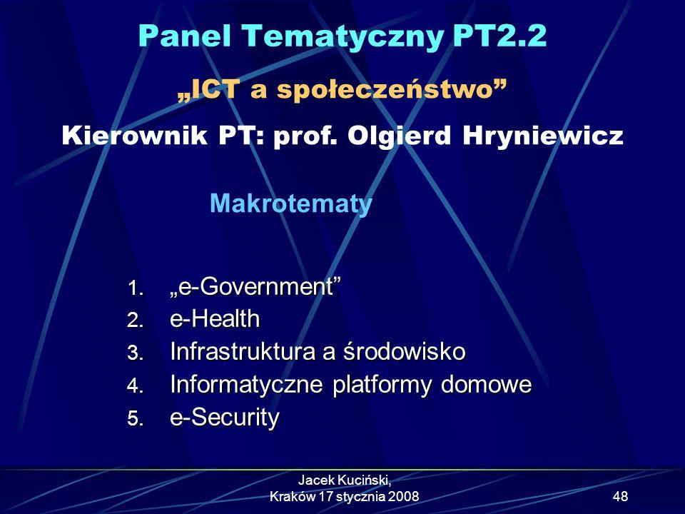 """Panel Tematyczny PT2.2 """"ICT a społeczeństwo Kierownik PT: prof. Olgierd Hryniewicz."""