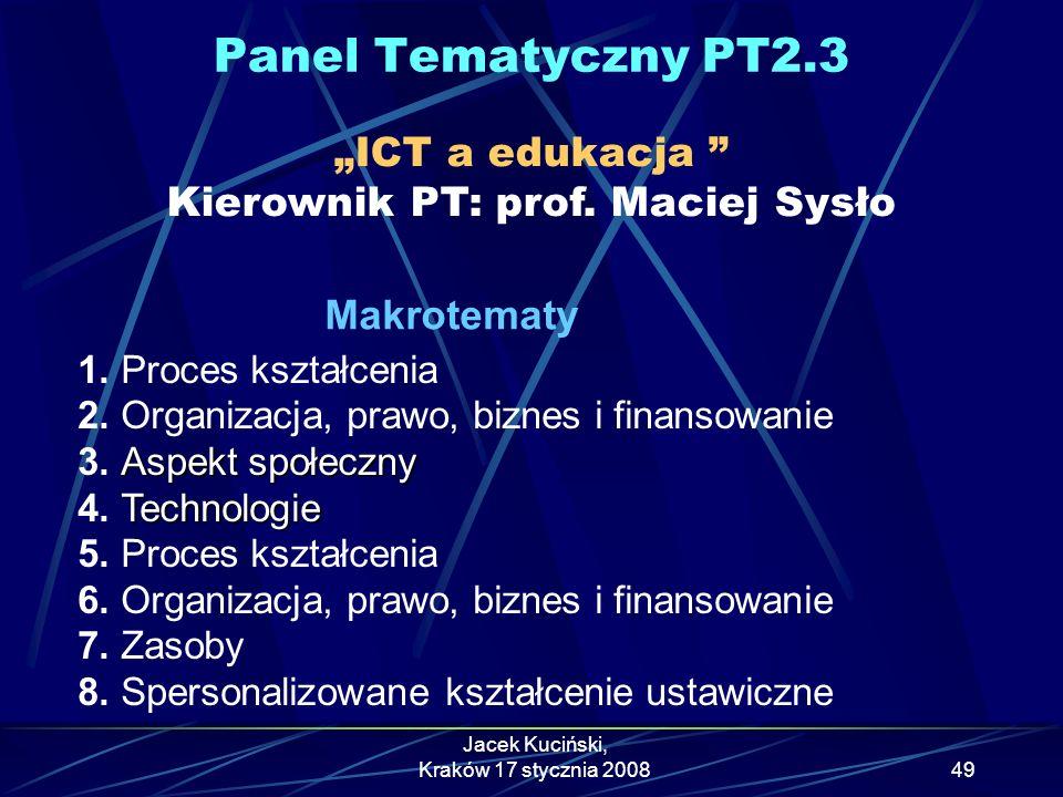 """Panel Tematyczny PT2.3 """"ICT a edukacja Kierownik PT: prof. Maciej Sysło. Makrotematy. 1. Proces kształcenia."""