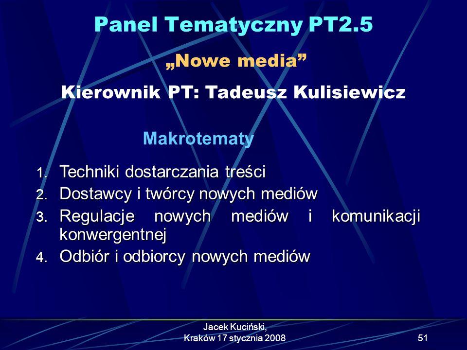 """Panel Tematyczny PT2.5 """"Nowe media Kierownik PT: Tadeusz Kulisiewicz"""