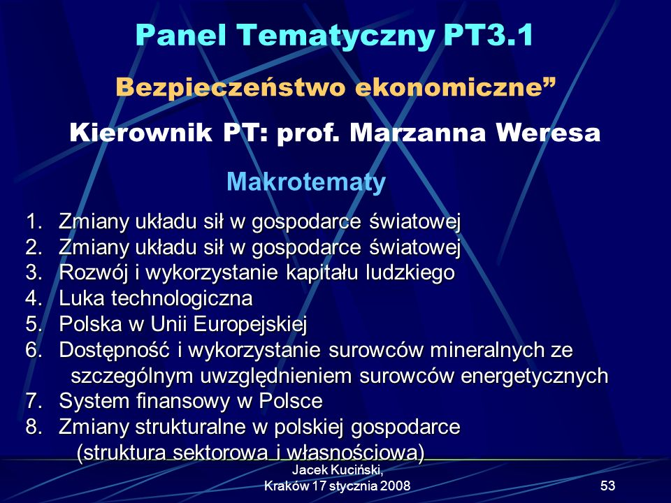 Panel Tematyczny PT3.1 Bezpieczeństwo ekonomiczne Kierownik PT: prof. Marzanna Weresa. Makrotematy.