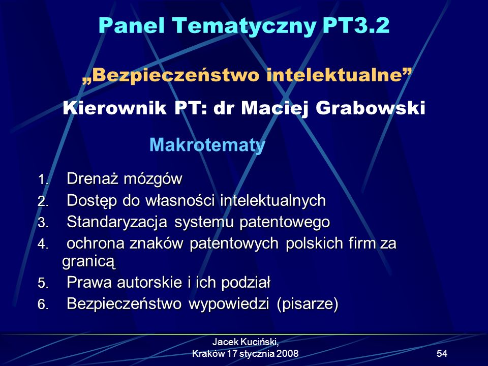"""Panel Tematyczny PT3.2 """"Bezpieczeństwo intelektualne Kierownik PT: dr Maciej Grabowski. Makrotematy."""